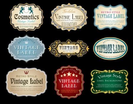 étiquettes vintage avec un texte d'exemple