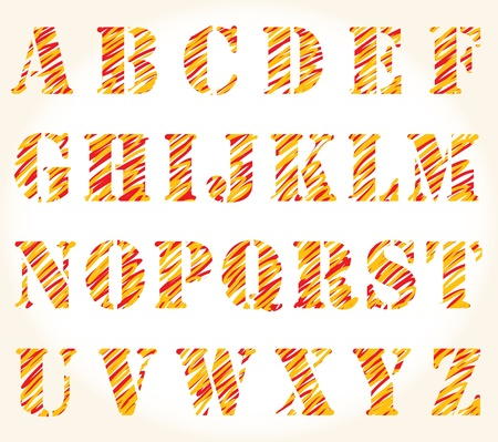 hand drawn sketched vector orange alphabet  Vector