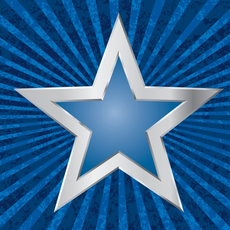 silver star on grunge burst background Vector