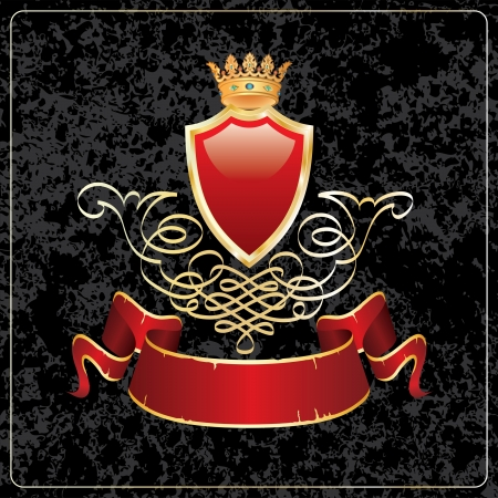 crown of light: Vector illustration of blank red shield with crown and banner