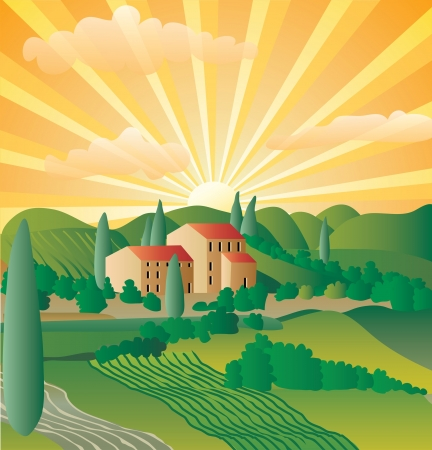 abstract landscape from Provence or Tuscany Vector