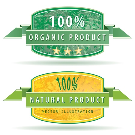 gunge burst labels for natural products Vector