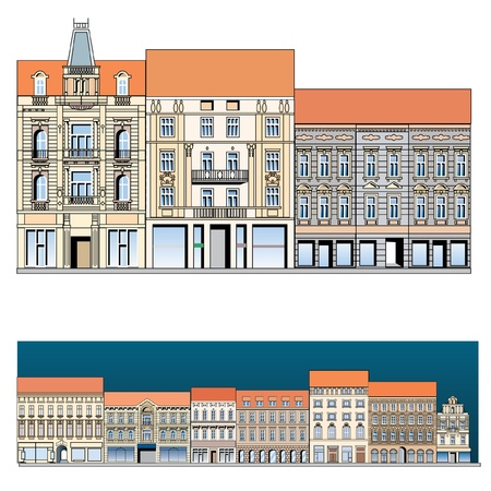 old building facade: facade of the old European street, vector drawing Illustration