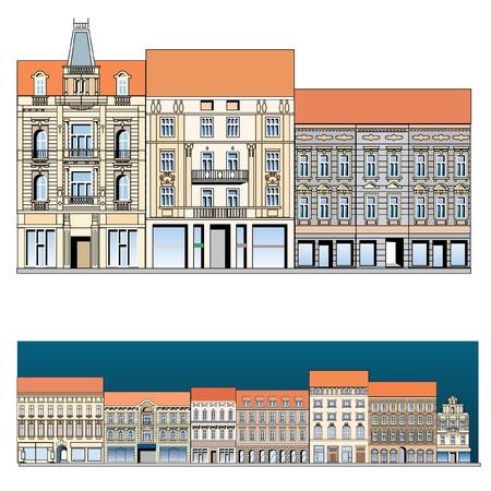 kopule: fasáda staré evropské ulice, vektorové kreslení