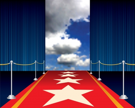red carpet with stars Vector