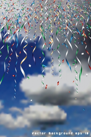 party streamers: holidays background with falling confetti in sky Illustration