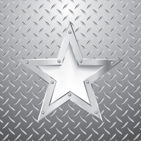silver star on metal plate Vector