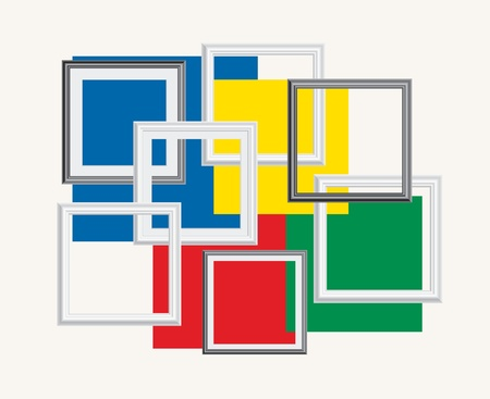 mondrian: abstract composition with frames and colors Illustration