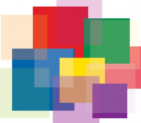 abstract composition with color transparent squares