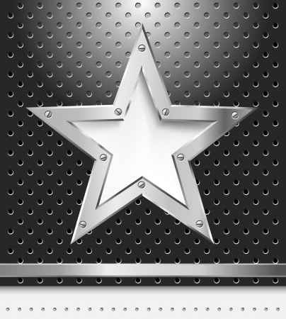 metal surface: vector metal background with star