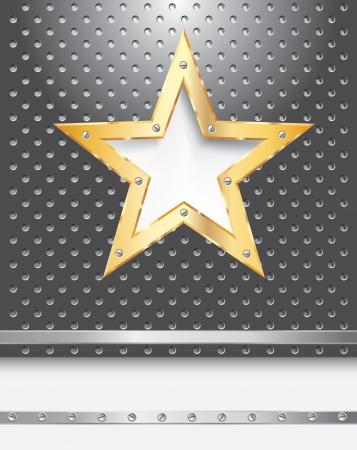 pavimento lucido: vettore sfondo metallico con stella d'oro Vettoriali