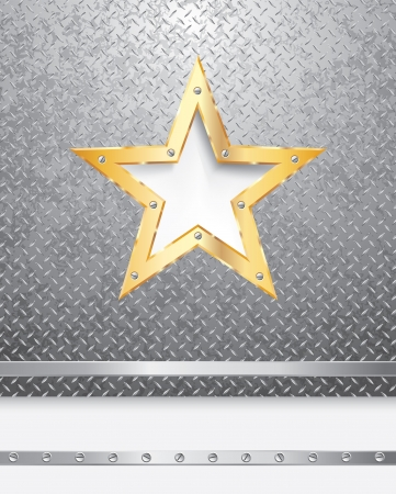 show bussiness: metal background with golden star