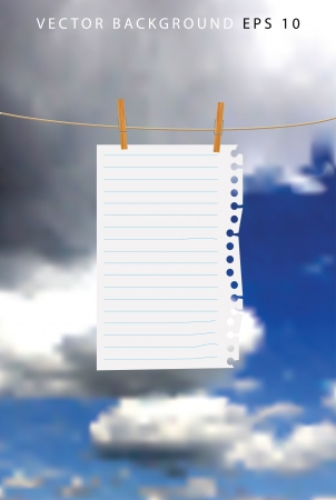 paper sheet on a wooden clips with clouds Vector