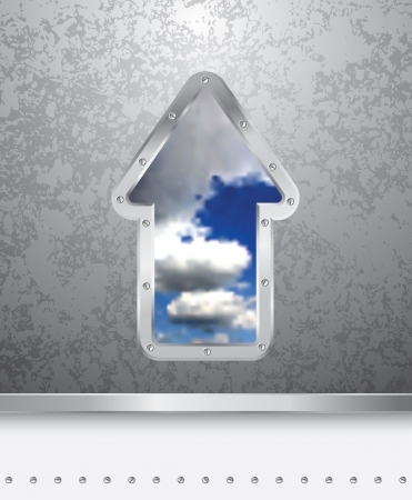 vector illustration of the grunge metal plate with cloudy sky Stock Vector - 15497500