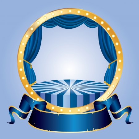 circle circus stage with blue blank banner Illustration