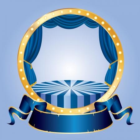 páska: kruh cirkus fázi s modrou prázdnou banner