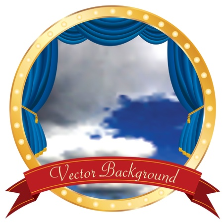 vector cloudy sky on circle stage with banner Vector