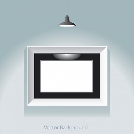 vector illustration of the white empty frame with spotlight Vector