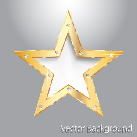 golden star on metal plate with diamond screws Vector