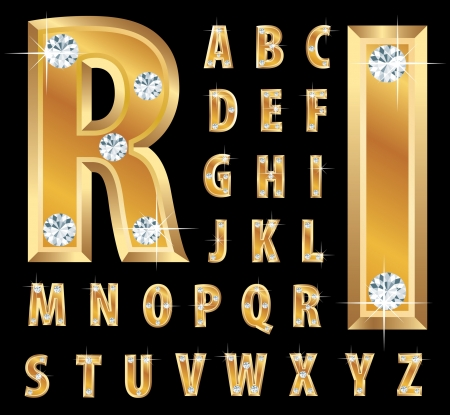 illustration of the golden alphabet with diamonds Vector