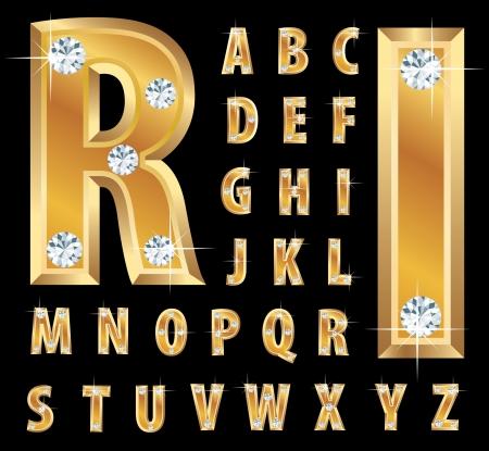 dorato: illustrazione dell'alfabeto d'oro con diamanti Vettoriali