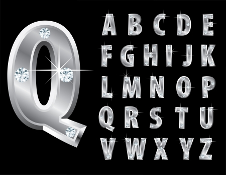 silver jewelry: illustration of the silver alphabet with diamonds