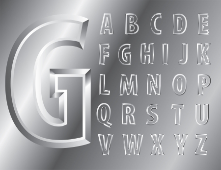 metal emboss alphabet Vector