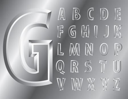 metal emboss alphabet