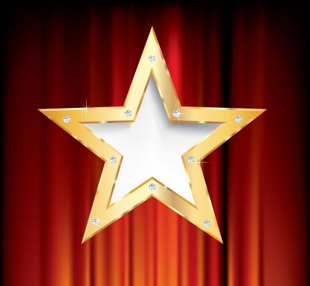 赤いカーテンの空白ゴールデン スター 写真素材 - 15516536