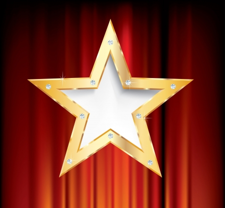 blank golden star on red curtain Vector