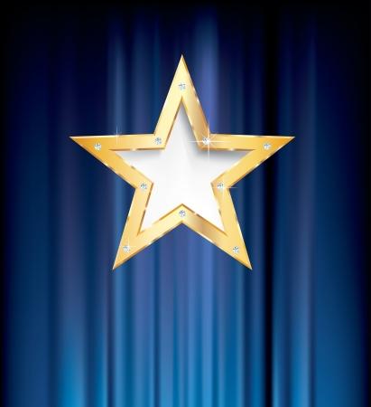 青いカーテンで空白のゴールデン スター 写真素材 - 15333196