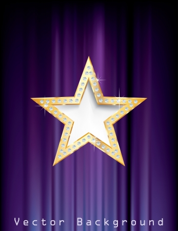 golden star with diamonds on purple curtain Vector