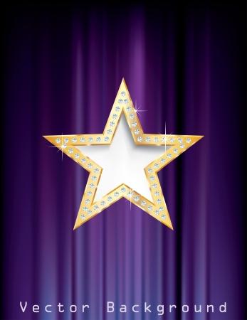 ster: gouden ster met diamanten op paars gordijn Stock Illustratie