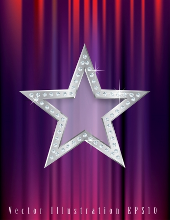 silver star with diamonds on red curtain Vector