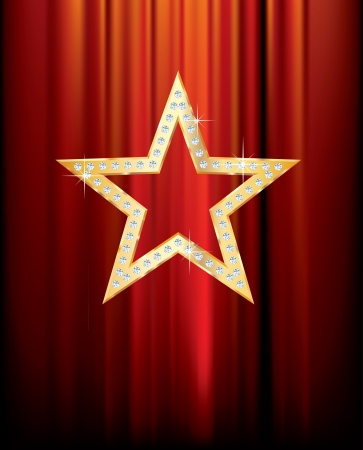 film star: transparent golden star with diamonds on red curtain