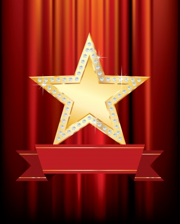 golden star with blank banner on red curtain Vector