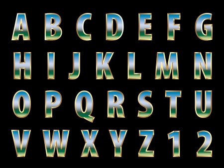 playschool: 3d golden alphabet with reflection of the landscape