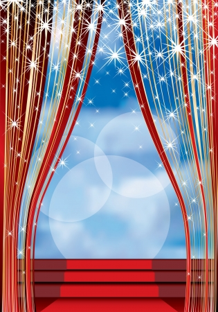 b�hnenvorhang: B�hne mit rotem Teppich auf Treppen und bew�lktem Himmel im Hintergrund