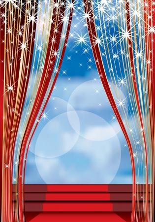 rideau sc�ne: sc�ne avec tapis rouge sur les escaliers et ciel nuageux en arri�re-plan Illustration