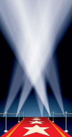 terciopelo azul: fondo con las estrellas en la alfombra roja y reflectores Vectores