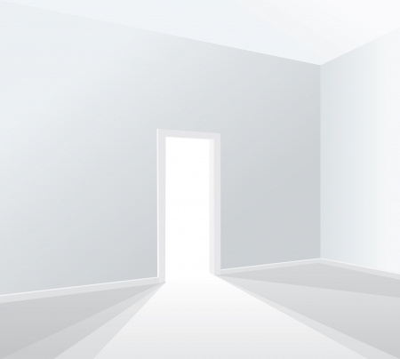 empty white room with opened door Vector