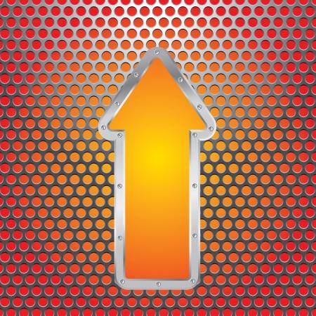 pavimento lucido: illustrazione vettoriale della piastra metallica forata con la freccia