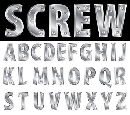 letras cromadas: alfabeto del metal con tornillos