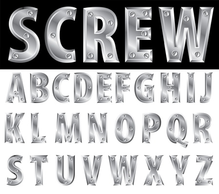 metal letter: metal alphabet with screws