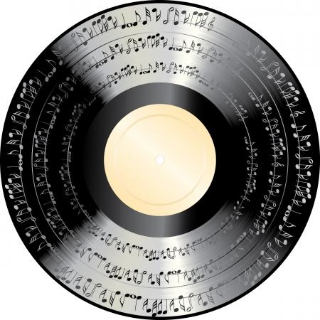 scheibe: alte Vinyl-Schallplatte mit Musik Noten Illustration