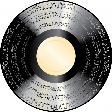 vinyl disk player: old vinyl record with music notes