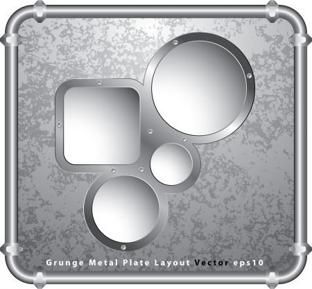 vector template with holes in grunge metal plate and frame of tubes Stock Vector - 16006709