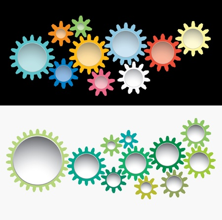 vector gears background like machinery flowers Vector