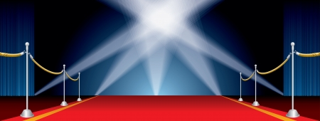 broadway show: aperto palco largo con cinque faretti Vettoriali