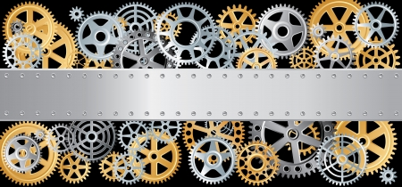 horizontal vector layout with gears and blank metal plate Vector